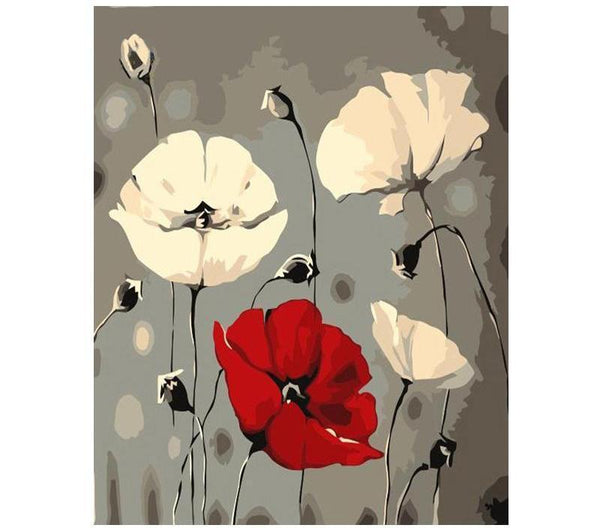 White & Red Lotus Flowers - Van-Go Paint-By-Number Kit
