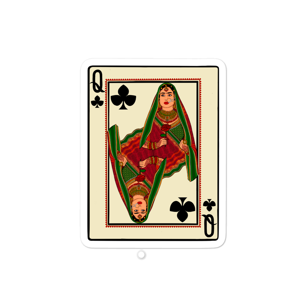 Queen of Clubs - Bubble-free stickers