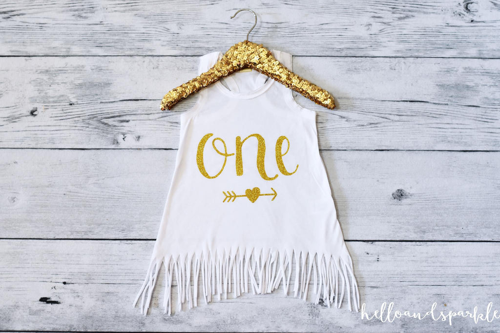 One Gold Sparkle Fringe Dress