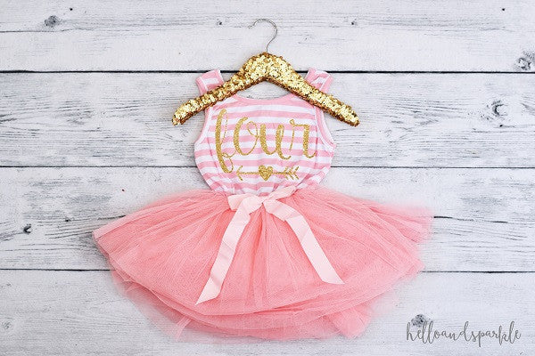 Four Dress, Pink and White Tutu Dress