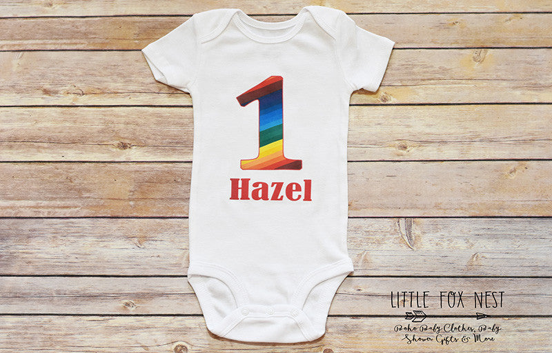 Personalized Rainbow Onesie, First Birthday Rainbow