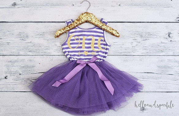 Purple and White Tutu Dress, First Birthday Dress