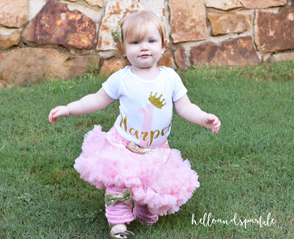 First Birthday Outfit Pink and Gold