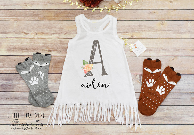 Personalized Baby Gift, Boho Fringe Dress