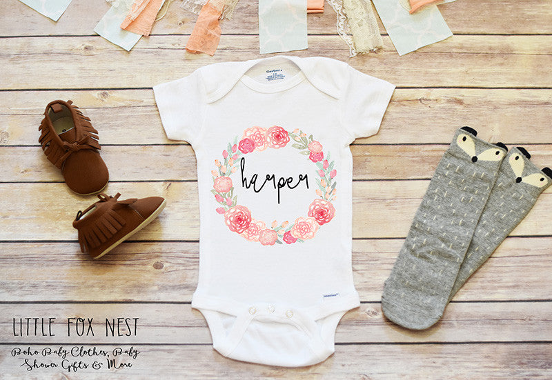 Personalized Take Home Outfit, Floral Name Shirt