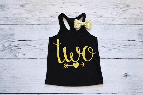 Black and Gold Two Tank Top with Bow