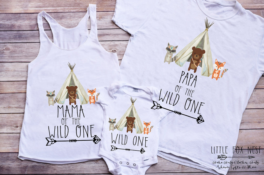 Family Shirts, Wild One Shirts, Wild One Birthday, Fox Shirts, Woodland Creatures Birthday