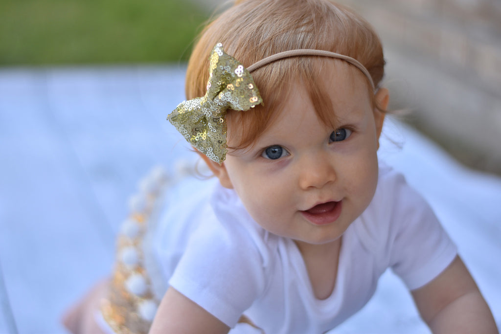Gold Sequin Bow or Headband