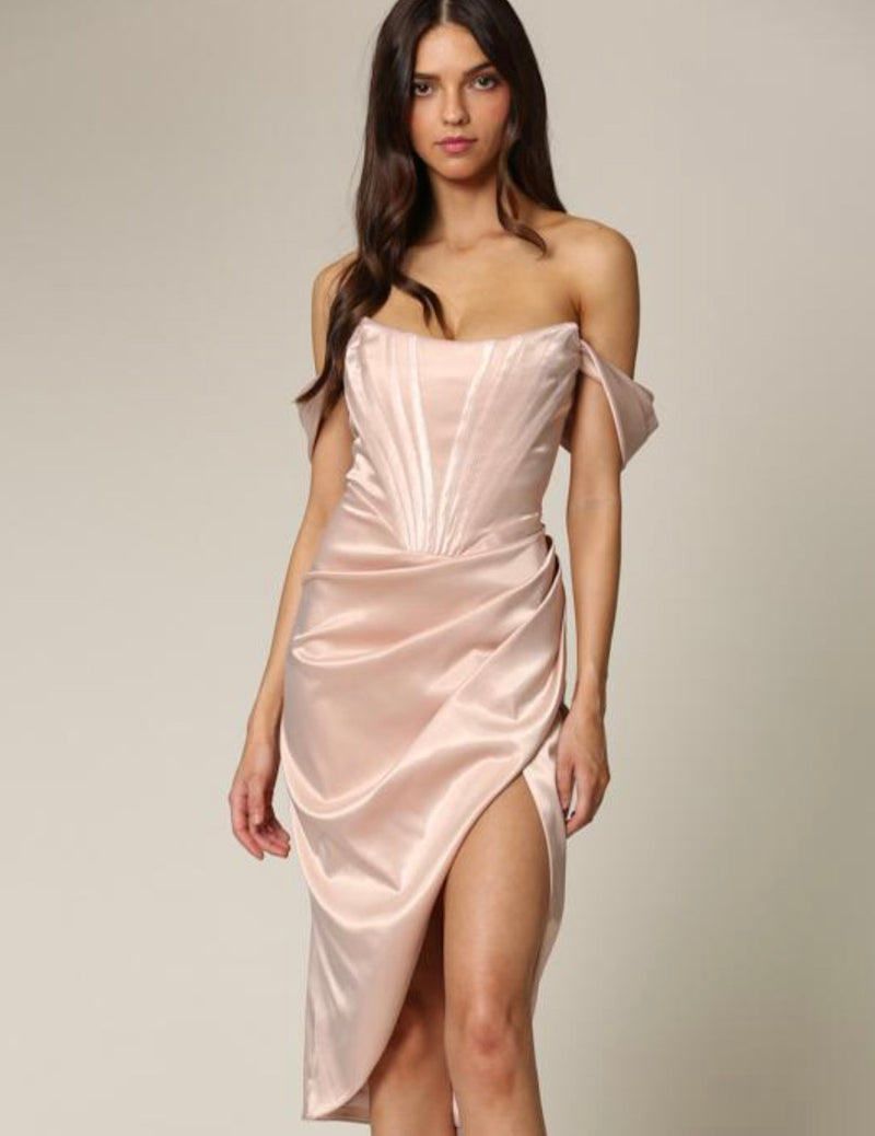 Nude Corset Slit Dress