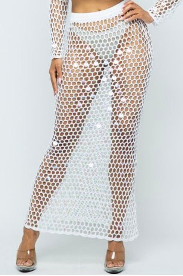 Fishnet Swim Skirt