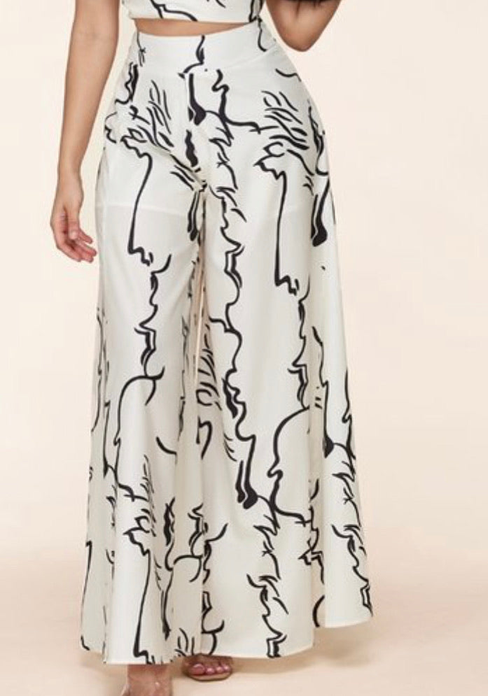 Ultra Wide Leg Abstract Pant
