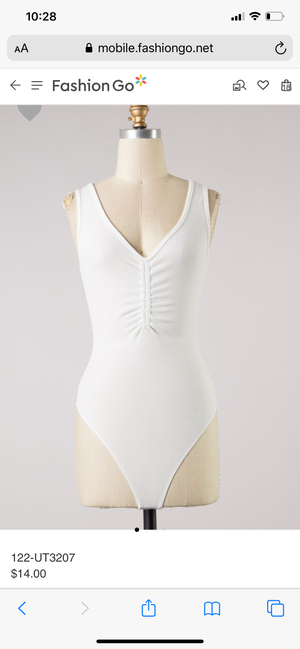 White Ruched Bodysuit