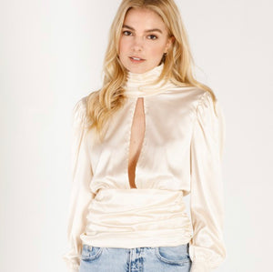 Champagne Ruched Satin Blouse