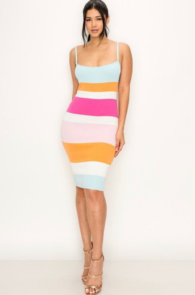 Multi Stripe Midi