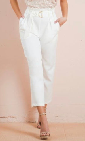 White Pant Gold Buckle