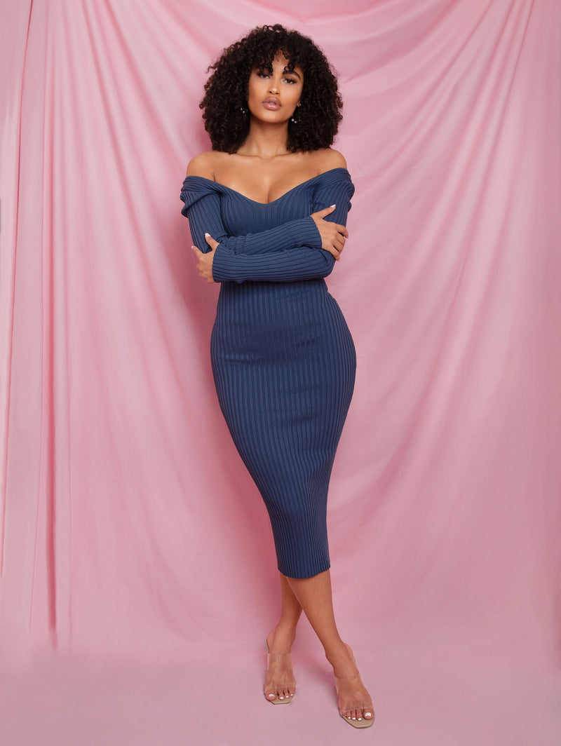 Sophee Ribbed Midi Blue