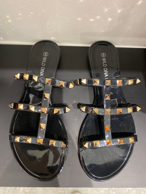 Black Studded Jelly Sandal
