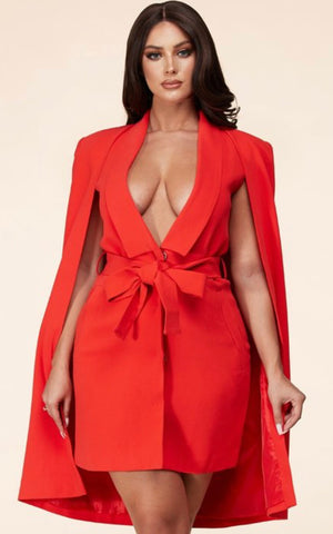Red Belted Cape Dress