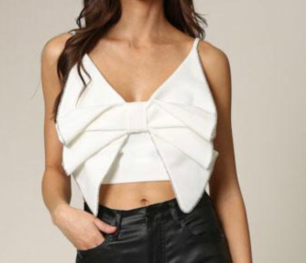 White Crystal Bow Top