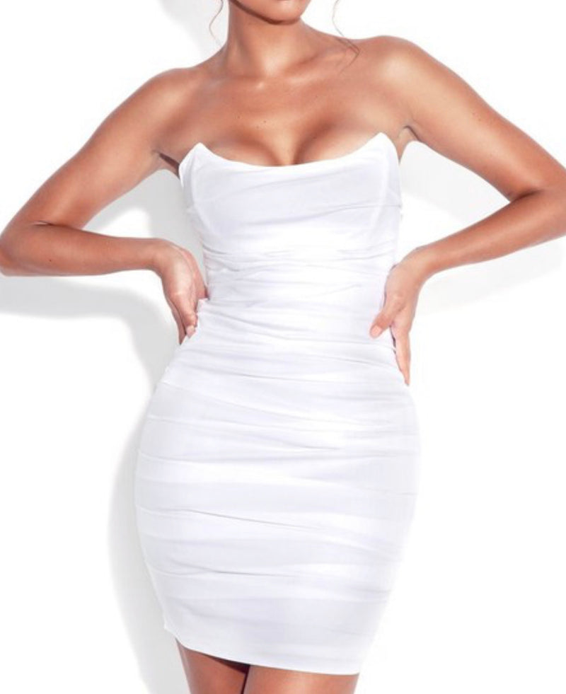 White Corset Ruched Dress