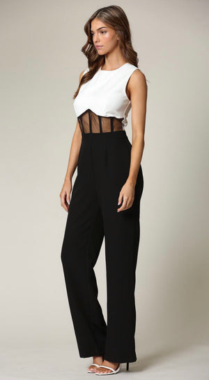 Black White Mesh Jumpsuit