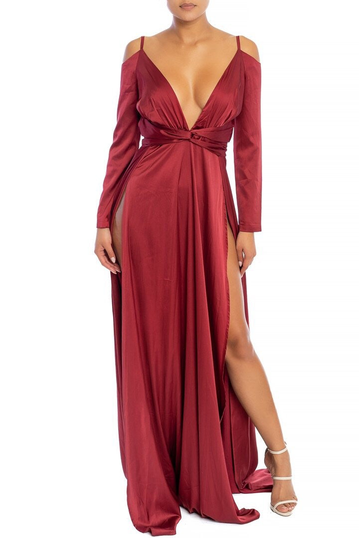 Yours Truly High Slit Gown