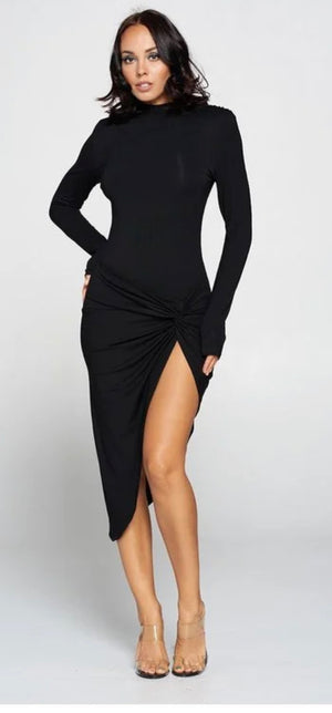 Black Long Sleeve Midi