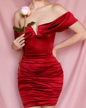 Marla Burgundy Satin Dress