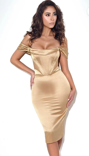 Jasmine Gold Corset Dress
