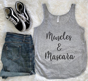 Muscles & Mascara Flowy Side Slit Tank Top - Wake Slay Repeat