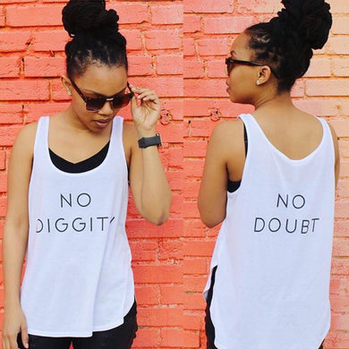 No Diggity No Doubt Flowy Side Slit Tank Top - Wake Slay Repeat