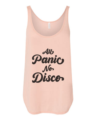 All Panic No Disco Flowy Side Slit Tank Top