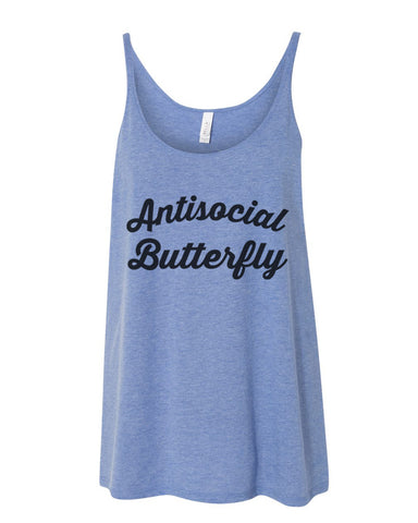 Antisocial Butterfly Slouchy Tank - Wake Slay Repeat