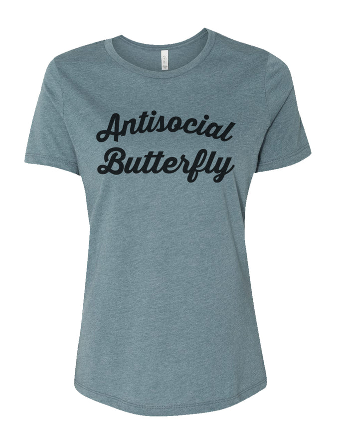 Antisocial Butterfly Relaxed Women's T Shirt - Wake Slay Repeat