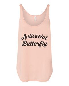 Antisocial Butterfly Flowy Side Slit Tank Top - Wake Slay Repeat
