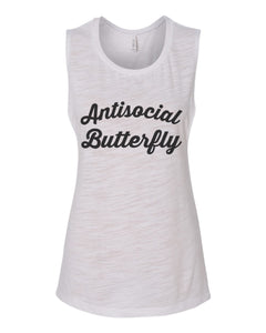 Antisocial Butterfly Flowy Scoop Muscle Tank - Wake Slay Repeat
