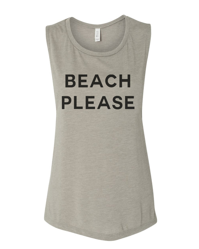 Beach Please Workout Flowy Scoop Muscle Tank - Wake Slay Repeat