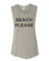 Beach Please Workout Flowy Scoop Muscle Tank