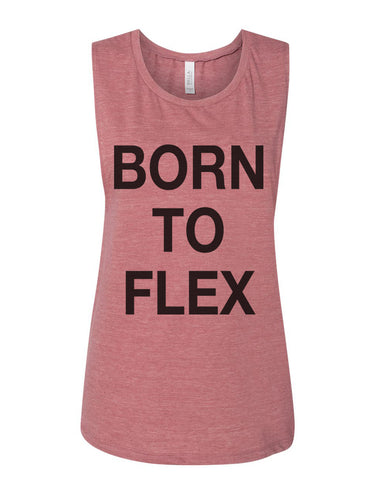 Born To Flex Fitted Scoop Muscle Tank - Wake Slay Repeat