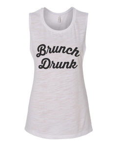 Brunch Drunk Flowy Scoop Muscle Tank - Wake Slay Repeat