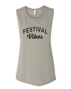 Festival Vibes Fitted Scoop Muscle Tank - Wake Slay Repeat