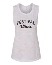 Load image into Gallery viewer, Festival Vibes Fitted Scoop Muscle Tank - Wake Slay Repeat
