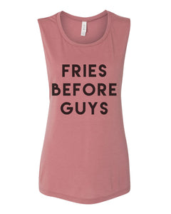 Fries Before Guys Workout Flowy Scoop Muscle Tank - Wake Slay Repeat