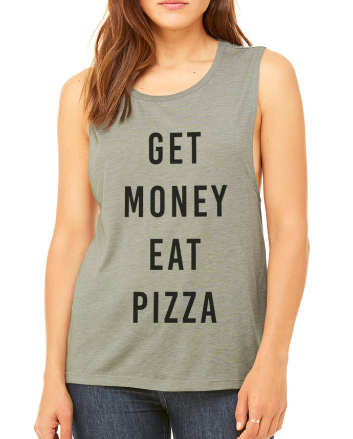 Get Money Eat Pizza Flowy Scoop Muscle Women's Workout Tank - Wake Slay Repeat