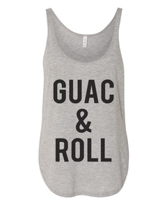 Guac & Roll Flowy Side Slit Tank Top - Wake Slay Repeat