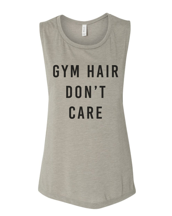 ee8ccc13a27917 Gym Hair Don t Care Flowy Scoop Muscle Tank – Wake Slay Repeat
