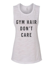 Load image into Gallery viewer, Gym Hair Don't Care Flowy Scoop Muscle Tank - Wake Slay Repeat