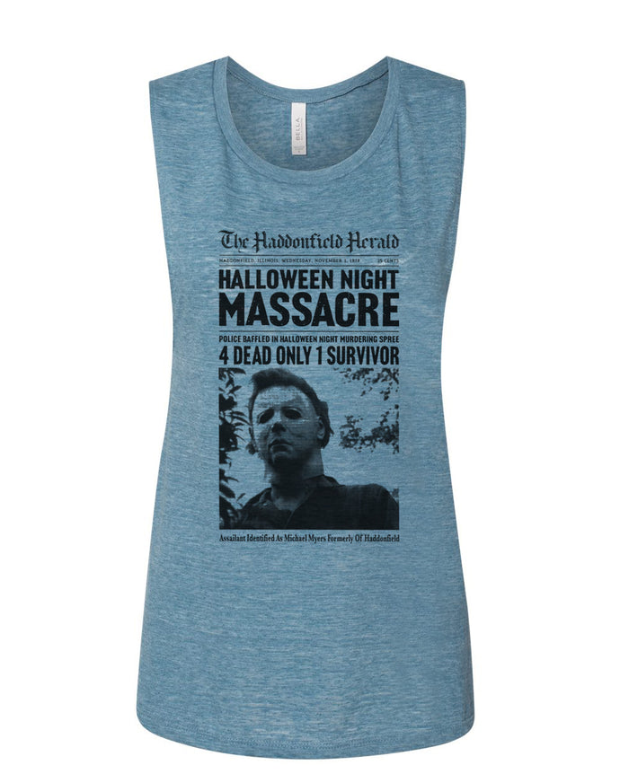 Haddonfield Newspaper Fitted Muscle Tank - Wake Slay Repeat