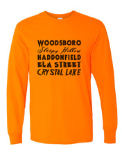 Load image into Gallery viewer, Horror Cities Woodsboro Sleepy Hollow Haddonfield Elm Street Crystal Lake Unisex Long Sleeve T Shirt - Wake Slay Repeat