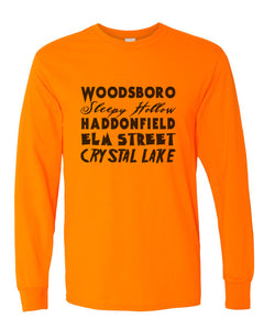 Horror Cities Woodsboro Sleepy Hollow Haddonfield Elm Street Crystal Lake Unisex Long Sleeve T Shirt - Wake Slay Repeat